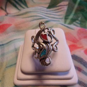 Sterling Silver Turquoise Coral Long Ring Sz 7.5